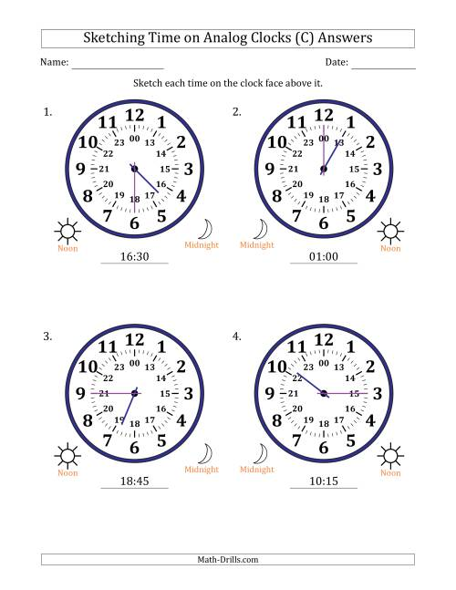 The Sketching Time on 24 Hour Analog Clocks in 15 Minute Intervals (Large Clocks) (C) Math Worksheet Page 2