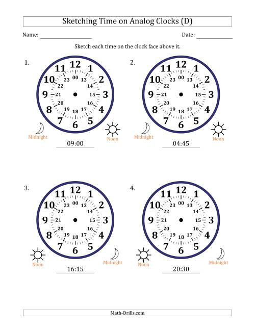 The Sketching Time on 24 Hour Analog Clocks in 15 Minute Intervals (Large Clocks) (D) Math Worksheet