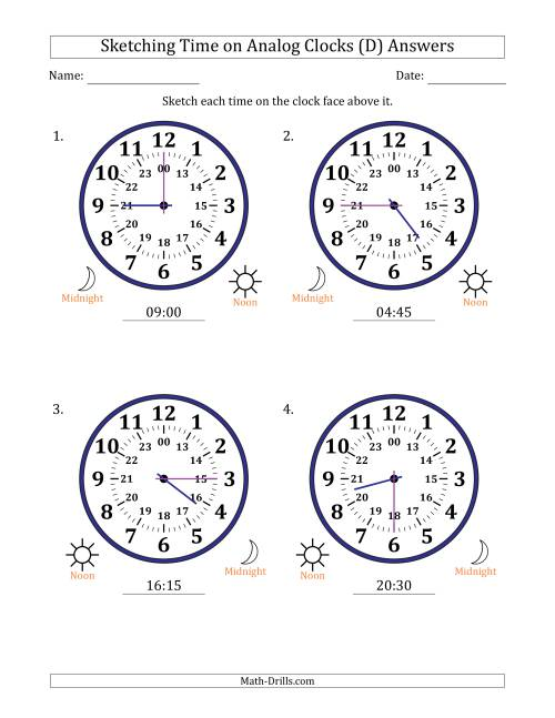 The Sketching Time on 24 Hour Analog Clocks in 15 Minute Intervals (Large Clocks) (D) Math Worksheet Page 2