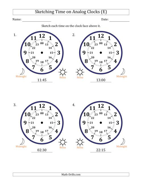 The Sketching Time on 24 Hour Analog Clocks in 15 Minute Intervals (Large Clocks) (E) Math Worksheet