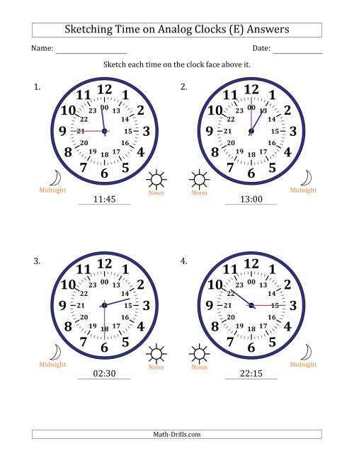 The Sketching Time on 24 Hour Analog Clocks in 15 Minute Intervals (Large Clocks) (E) Math Worksheet Page 2