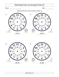 sketching time on 24 hour analog clocks in 15 minute intervals large clocks i time worksheet. Black Bedroom Furniture Sets. Home Design Ideas