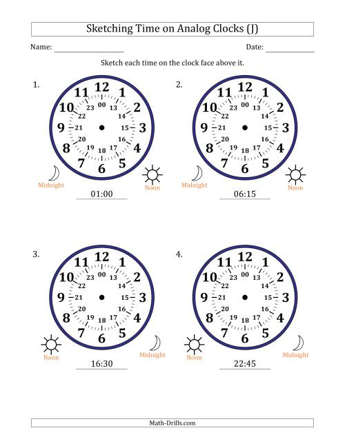The Sketching Time on 24 Hour Analog Clocks in 15 Minute Intervals (Large Clocks) (J) Math Worksheet