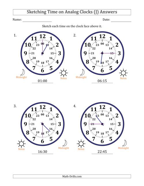 The Sketching Time on 24 Hour Analog Clocks in 15 Minute Intervals (Large Clocks) (J) Math Worksheet Page 2