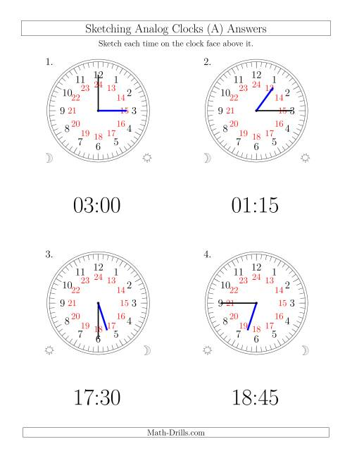 The Sketching Time on 24 Hour Analog Clocks in 15 Minute Intervals (Large Clocks) (Old) Math Worksheet Page 2