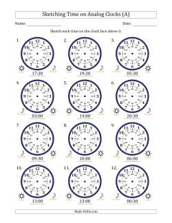 Sketching 24 Hour Time on Analog Clocks in 30 Minute Intervals (12 Clocks)