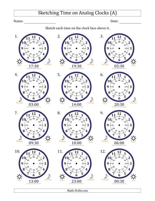 The Sketching 24 Hour Time on Analog Clocks in 30 Minute Intervals (12 Clocks) (A) Math Worksheet