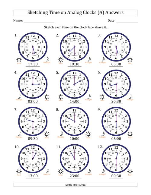 The Sketching 24 Hour Time on Analog Clocks in 30 Minute Intervals (12 Clocks) (A) Math Worksheet Page 2
