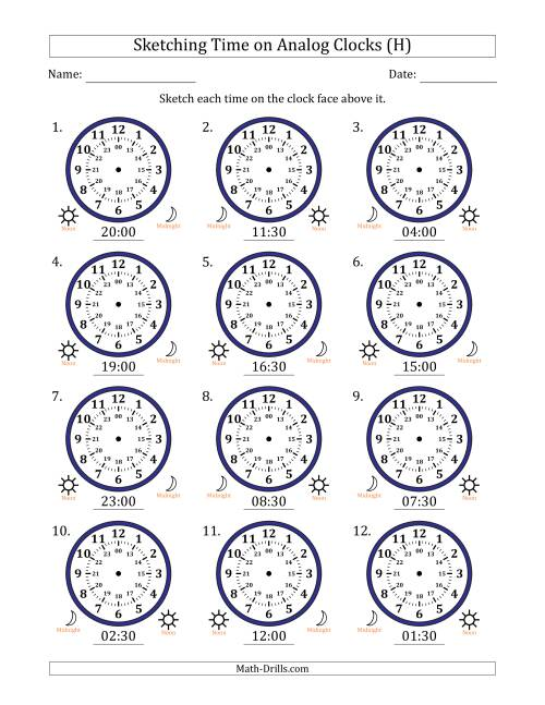 The Sketching Time on 24 Hour Analog Clocks in Half Hour Intervals (H) Math Worksheet
