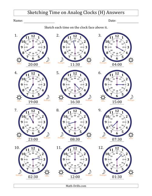 The Sketching Time on 24 Hour Analog Clocks in Half Hour Intervals (H) Math Worksheet Page 2
