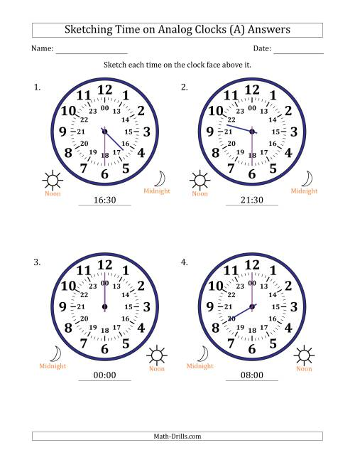 The Sketching 24 Hour Time on Analog Clocks in 30 Minute Intervals (4 Large Clocks) (A) Math Worksheet Page 2