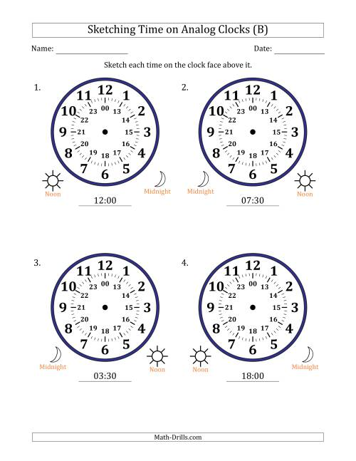 The Sketching Time on 24 Hour Analog Clocks in Half Hour Intervals (Large Clocks) (B) Math Worksheet