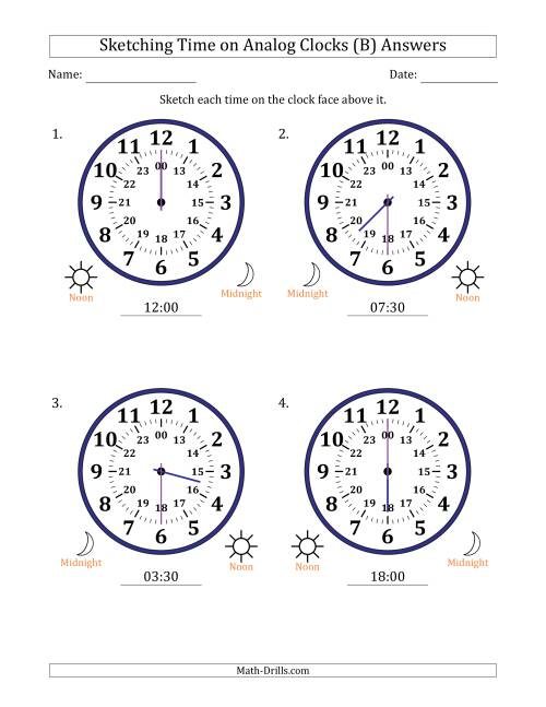 The Sketching Time on 24 Hour Analog Clocks in Half Hour Intervals (Large Clocks) (B) Math Worksheet Page 2