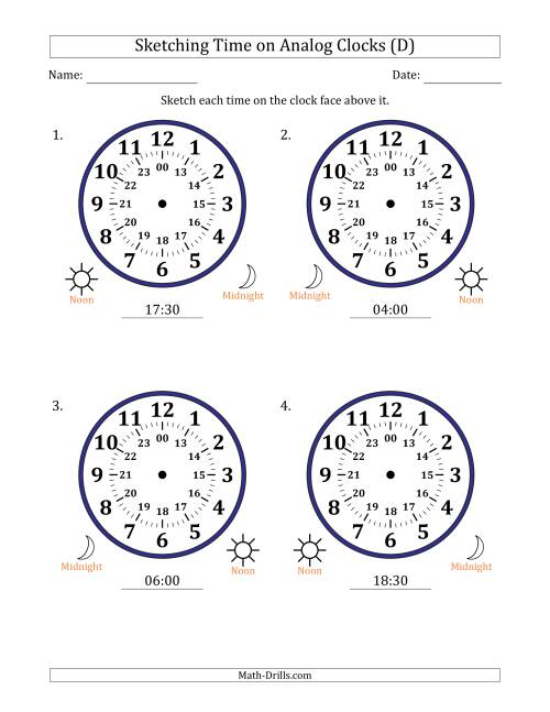The Sketching 24 Hour Time on Analog Clocks in 30 Minute Intervals (4 Large Clocks) (D) Math Worksheet