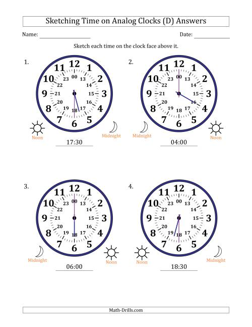 The Sketching 24 Hour Time on Analog Clocks in 30 Minute Intervals (4 Large Clocks) (D) Math Worksheet Page 2