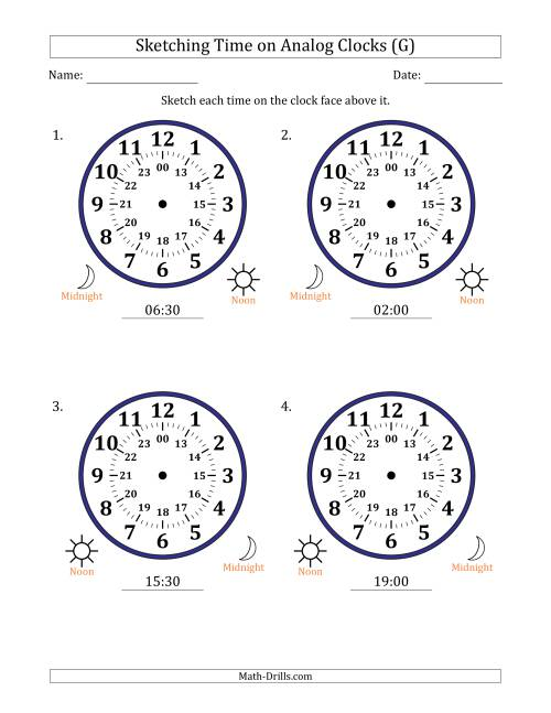 The Sketching 24 Hour Time on Analog Clocks in 30 Minute Intervals (4 Large Clocks) (G) Math Worksheet