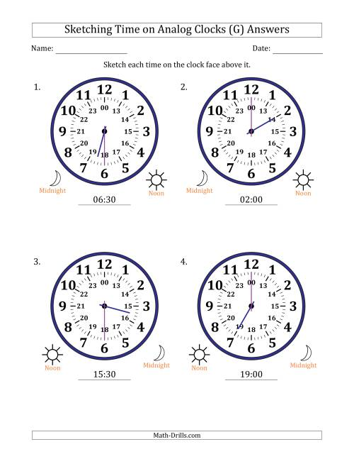 The Sketching Time on 24 Hour Analog Clocks in Half Hour Intervals (Large Clocks) (G) Math Worksheet Page 2