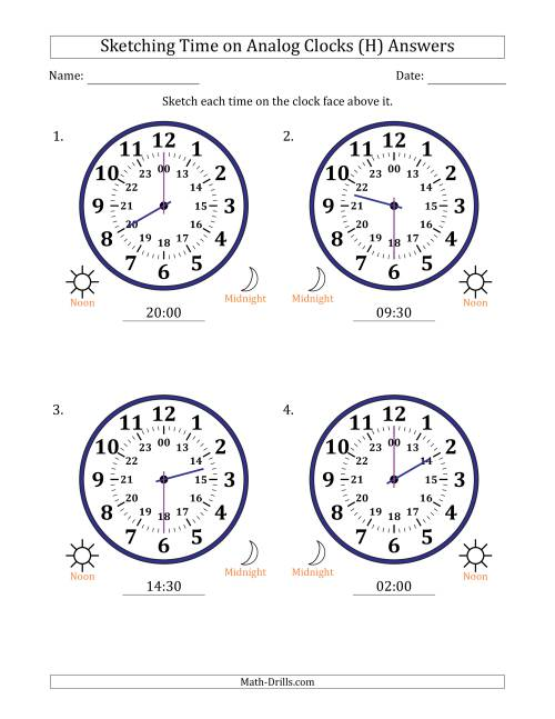 The Sketching 24 Hour Time on Analog Clocks in 30 Minute Intervals (4 Large Clocks) (H) Math Worksheet Page 2