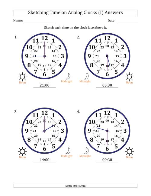 The Sketching 24 Hour Time on Analog Clocks in 30 Minute Intervals (4 Large Clocks) (I) Math Worksheet Page 2
