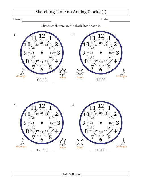 The Sketching 24 Hour Time on Analog Clocks in 30 Minute Intervals (4 Large Clocks) (J) Math Worksheet