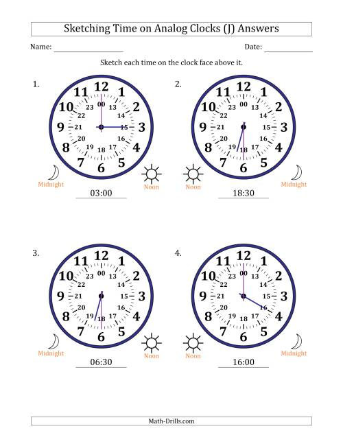 The Sketching 24 Hour Time on Analog Clocks in 30 Minute Intervals (4 Large Clocks) (J) Math Worksheet Page 2