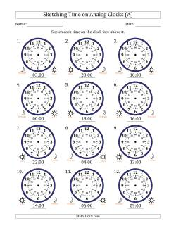 Sketching 24 Hour Time on Analog Clocks in One Hour Intervals (12 Clocks)