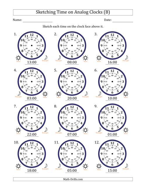 The Sketching Time on 24 Hour Analog Clocks in One Hour Intervals (B) Math Worksheet