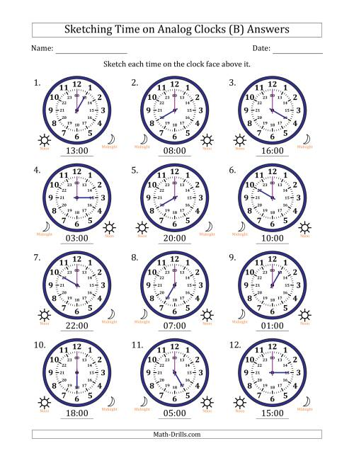 The Sketching Time on 24 Hour Analog Clocks in One Hour Intervals (B) Math Worksheet Page 2