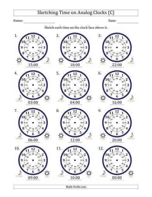 The Sketching Time on 24 Hour Analog Clocks in One Hour Intervals (C) Math Worksheet