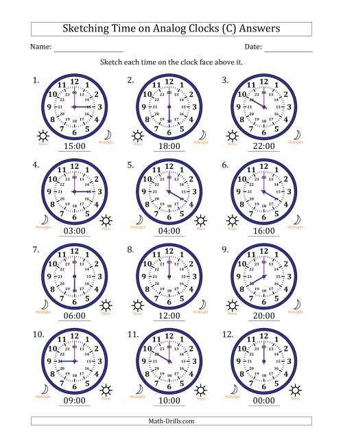 The Sketching Time on 24 Hour Analog Clocks in One Hour Intervals (C) Math Worksheet Page 2