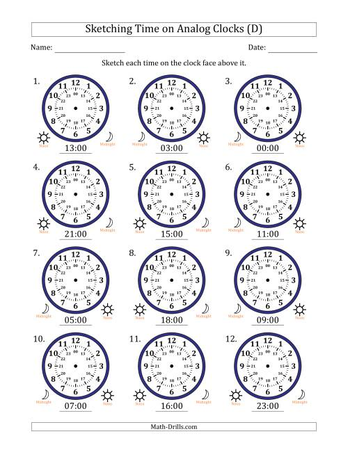 The Sketching Time on 24 Hour Analog Clocks in One Hour Intervals (D) Math Worksheet