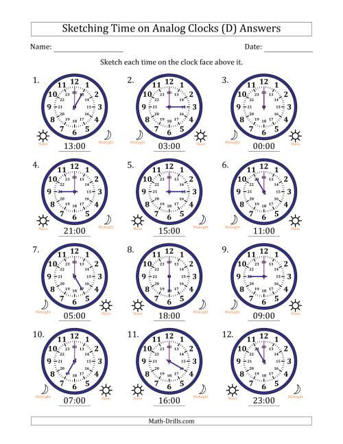 The Sketching Time on 24 Hour Analog Clocks in One Hour Intervals (D) Math Worksheet Page 2