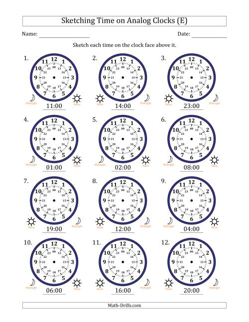 The Sketching Time on 24 Hour Analog Clocks in One Hour Intervals (E) Math Worksheet