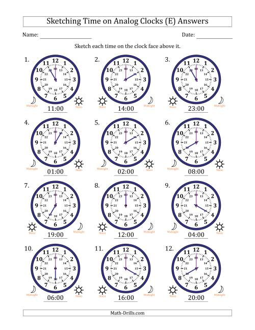 The Sketching Time on 24 Hour Analog Clocks in One Hour Intervals (E) Math Worksheet Page 2