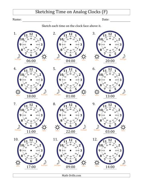 The Sketching 24 Hour Time on Analog Clocks in One Hour Intervals (12 Clocks) (F) Math Worksheet