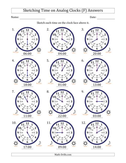 The Sketching Time on 24 Hour Analog Clocks in One Hour Intervals (F) Math Worksheet Page 2