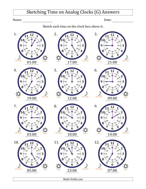 The Sketching Time on 24 Hour Analog Clocks in One Hour Intervals (G) Math Worksheet Page 2