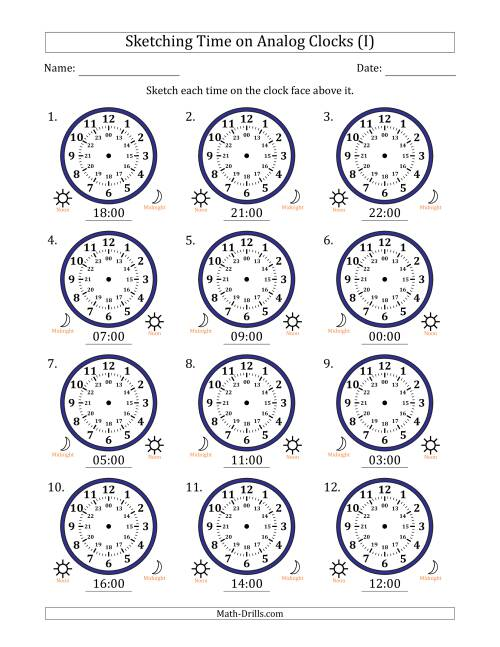 The Sketching 24 Hour Time on Analog Clocks in One Hour Intervals (12 Clocks) (I) Math Worksheet