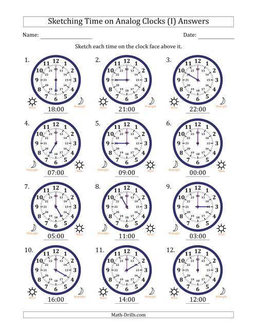 The Sketching Time on 24 Hour Analog Clocks in One Hour Intervals (I) Math Worksheet Page 2