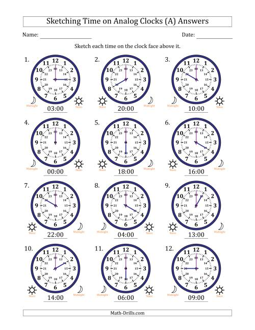 The Sketching Time on 24 Hour Analog Clocks in One Hour Intervals (All) Math Worksheet Page 2
