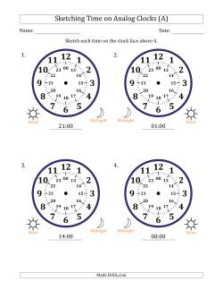 Sketching 24 Hour Time on Analog Clocks in One Hour Intervals (4 Large Clocks)