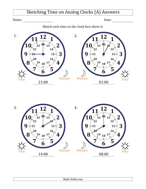 The Sketching 24 Hour Time on Analog Clocks in One Hour Intervals (4 Large Clocks) (A) Math Worksheet Page 2