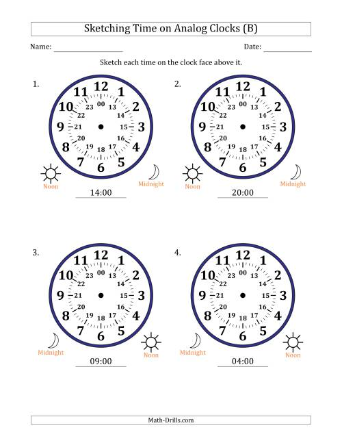 The Sketching Time on 24 Hour Analog Clocks in One Hour Intervals (Large Clocks) (B) Math Worksheet