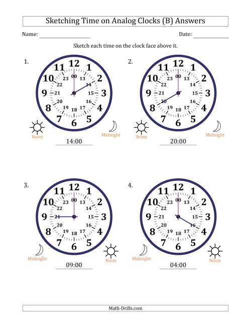 The Sketching Time on 24 Hour Analog Clocks in One Hour Intervals (Large Clocks) (B) Math Worksheet Page 2