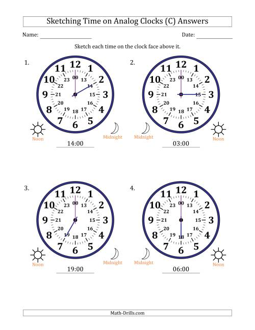 The Sketching Time on 24 Hour Analog Clocks in One Hour Intervals (Large Clocks) (C) Math Worksheet Page 2