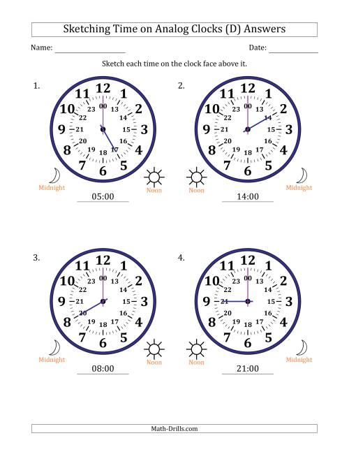 The Sketching Time on 24 Hour Analog Clocks in One Hour Intervals (Large Clocks) (D) Math Worksheet Page 2