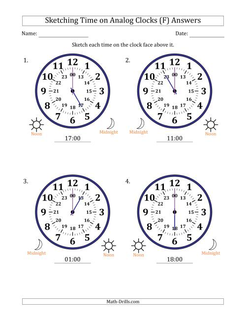 The Sketching Time on 24 Hour Analog Clocks in One Hour Intervals (Large Clocks) (F) Math Worksheet Page 2