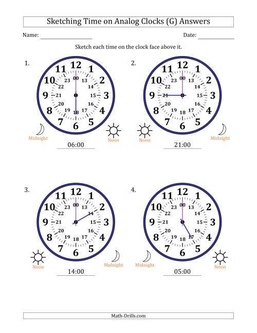 The Sketching Time on 24 Hour Analog Clocks in One Hour Intervals (Large Clocks) (G) Math Worksheet Page 2