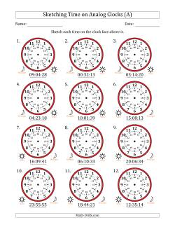 Sketching 24 Hour Time on Analog Clocks in 1 Second Intervals (12 Clocks)