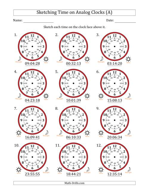 The Sketching 24 Hour Time on Analog Clocks in 1 Second Intervals (12 Clocks) (A) Math Worksheet